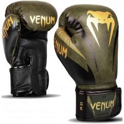 Боксерские перчатки Venum Elite Khaki Gold