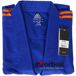 Кимоно для дзюдо Adidas Club (синий/оранжевые полосы, J350BP)