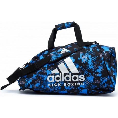Сумка-рюкзак с серебряным логотипом Adidas KickBoxing (синий камуфляж, ADIACC058KB)